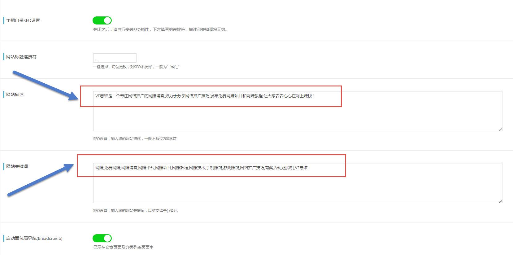 VE思维网站主页关键词描述以及关键词设置界面