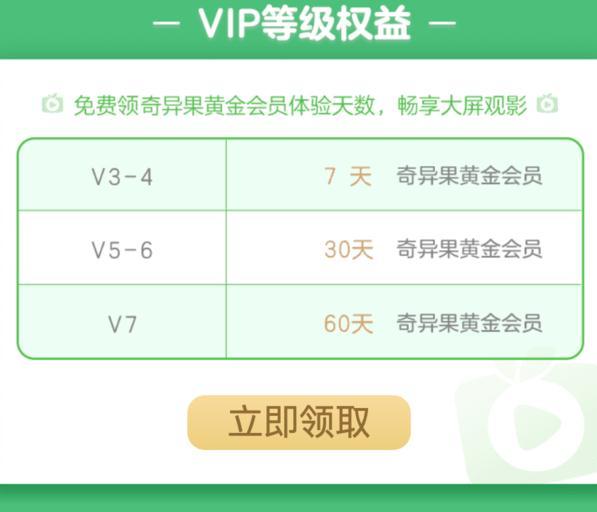 爱奇艺vip用户可免费领取7天到60天奇异果黄金会员,4屏通用